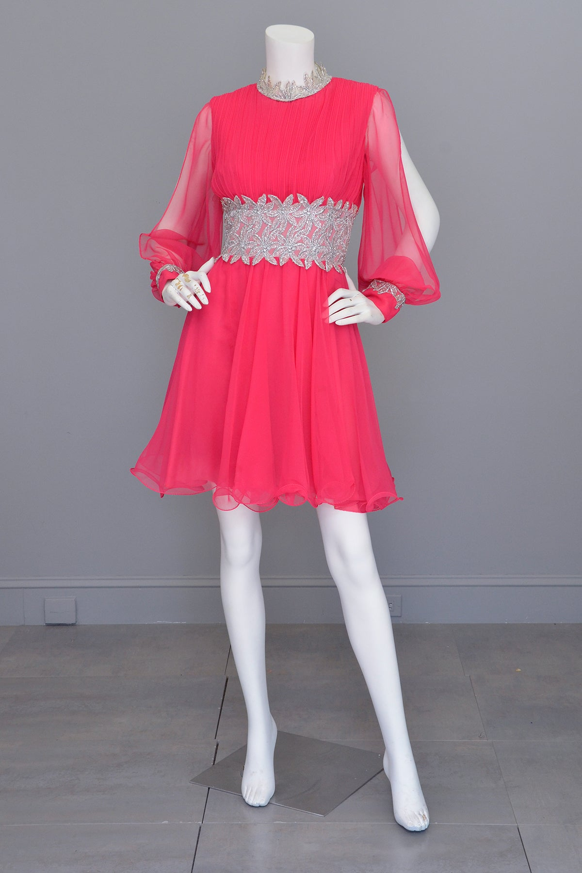 1960s Hot Pink Chiffon Party Dress with Silver Lamé Waistline | Disco Dress