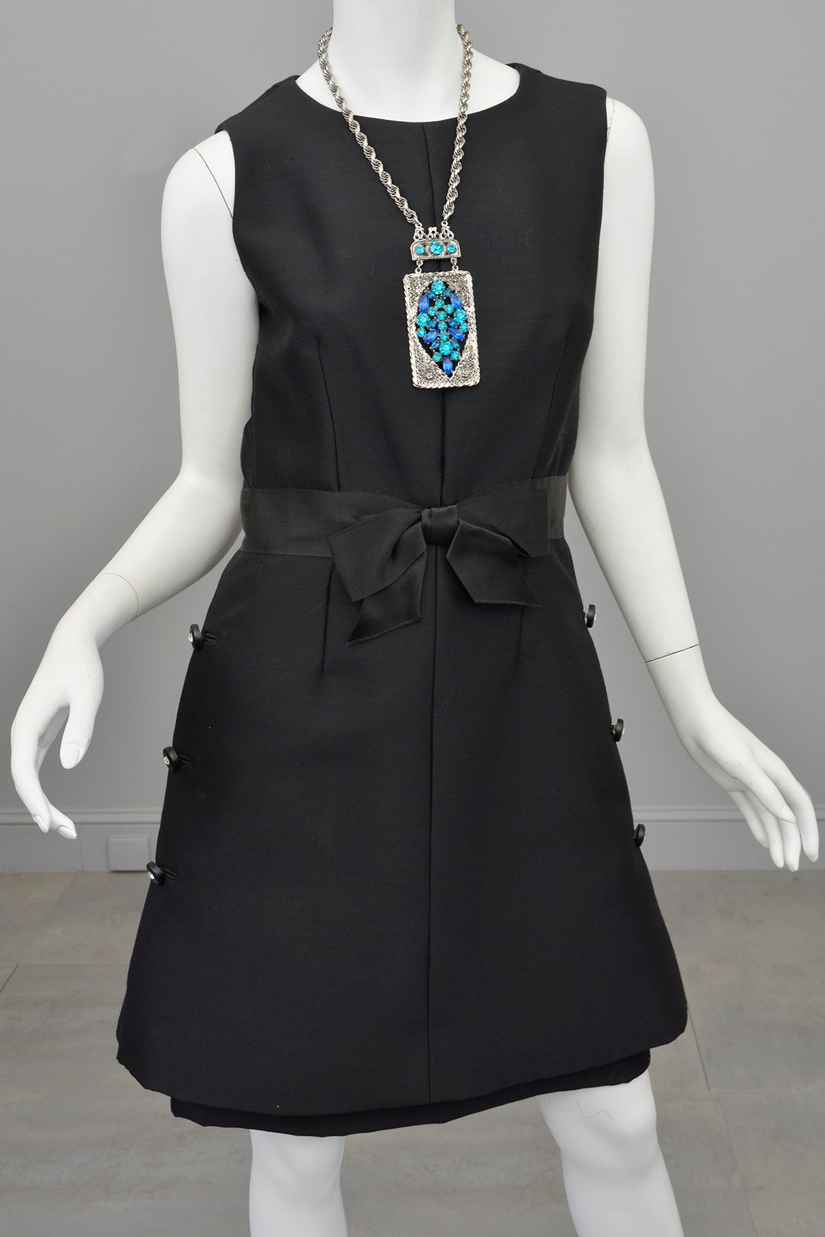 1960s MOD Little Black Dress with Crystal Buttons and 'Peplum' Skirt