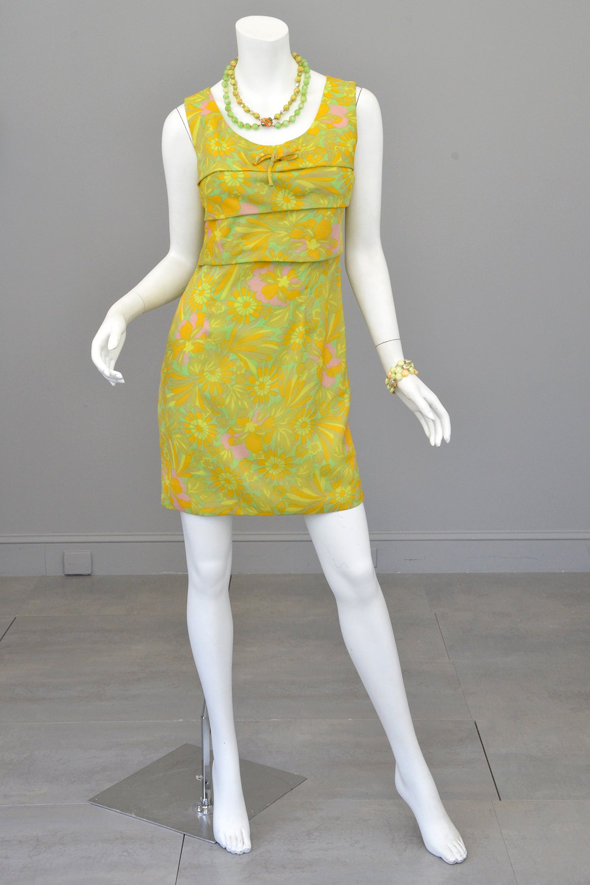1960s 70s Neon Citrus Tiered Mini Gogo Dress Twiggy Dress