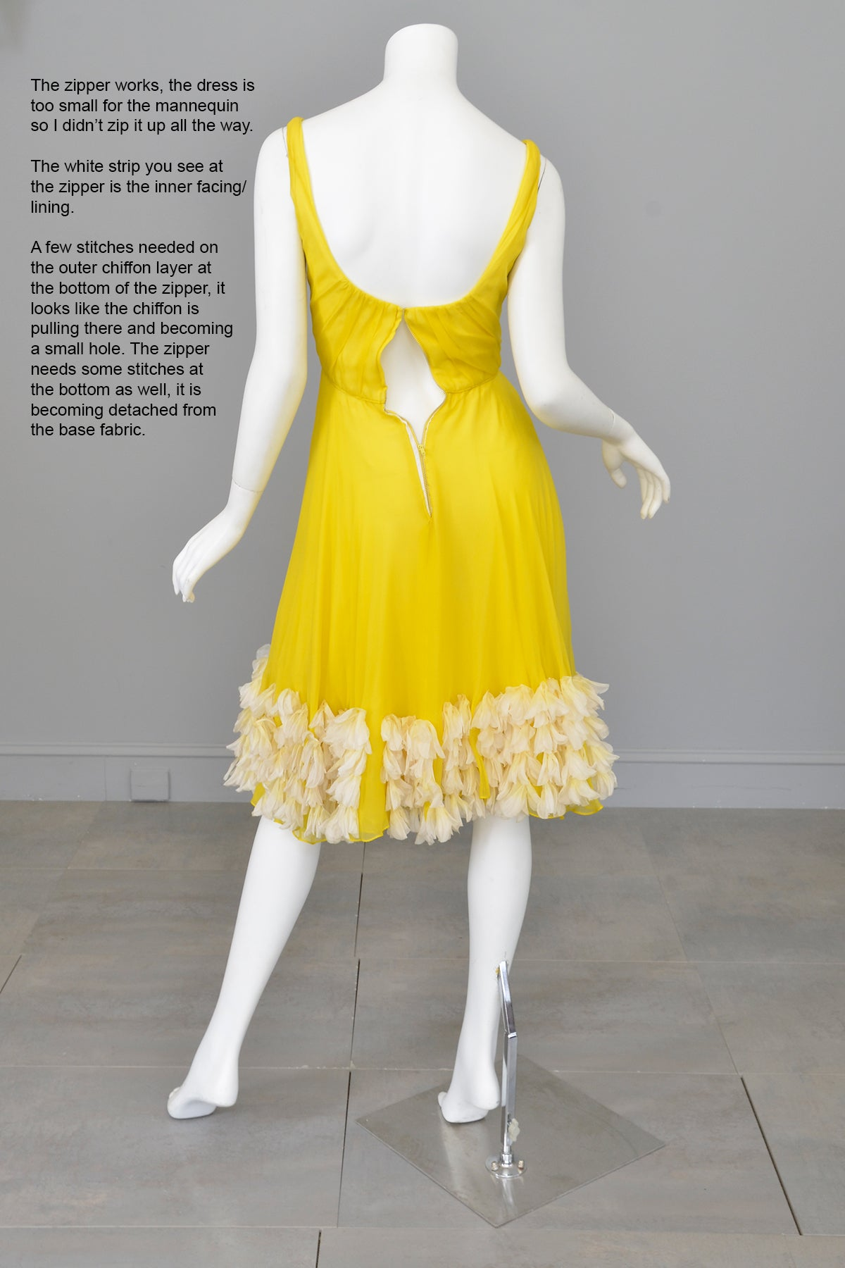 1960s Frothy and Sunny Chiffon Party Dress w amazing Petals at the hem