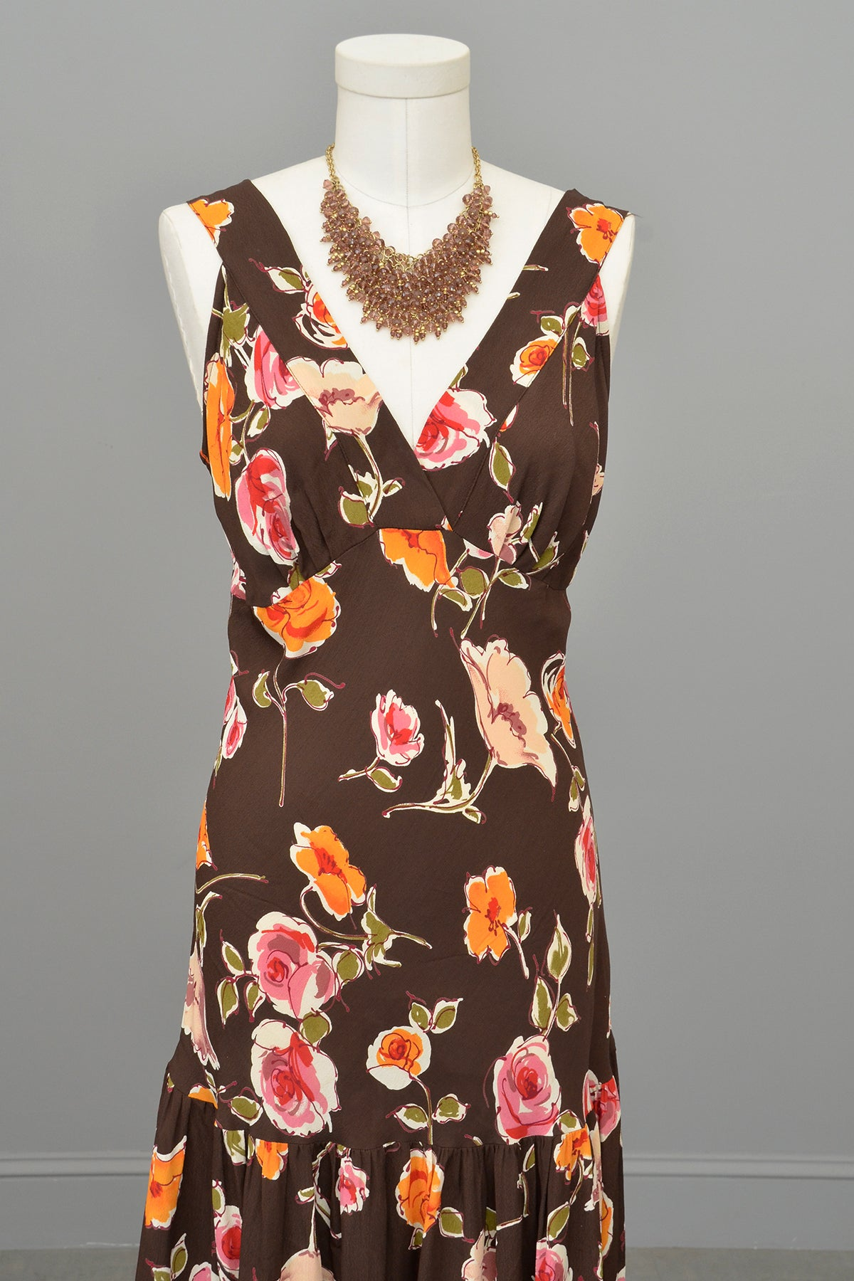 1970s or 90s doing 30s Brown Floral Print Bias Style Dress