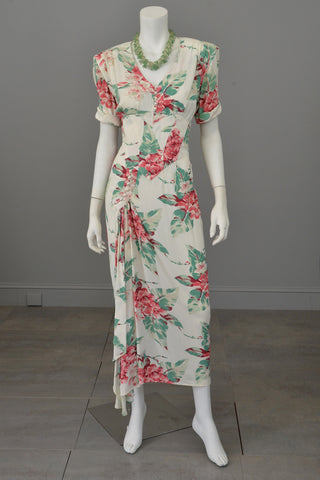 Vintage 80s does 40s Tropical Floral Print Swag Dress by Karen Alexander