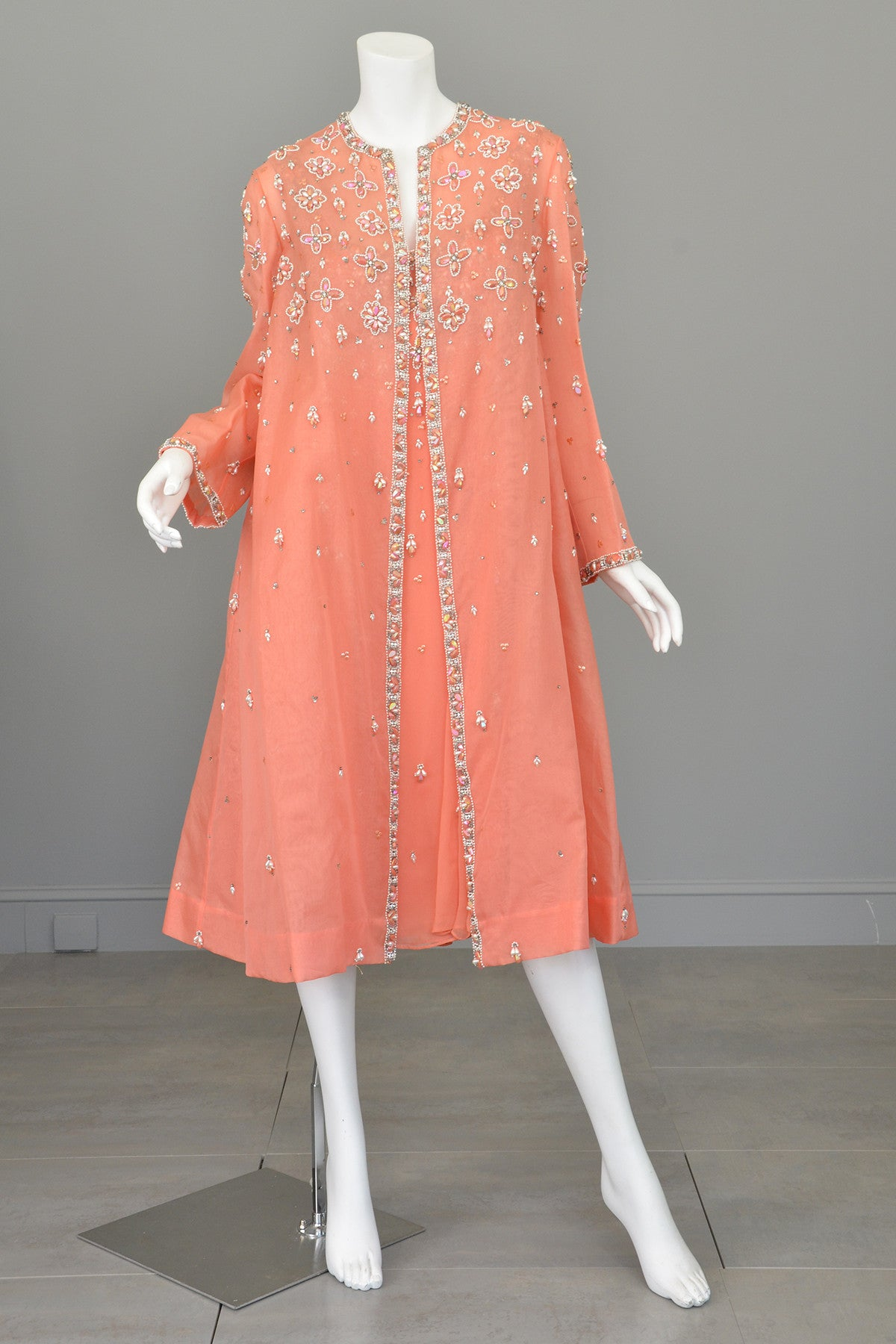Vintage 1970s Coral Beaded Chiffon Duster Evening Coat