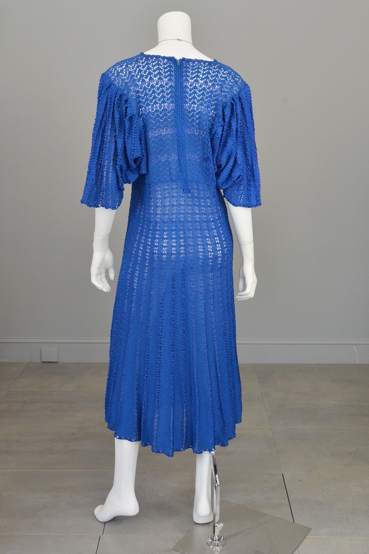 1970s Vibrant Blue Knit Crochet Dress Draping Angel Sleeves