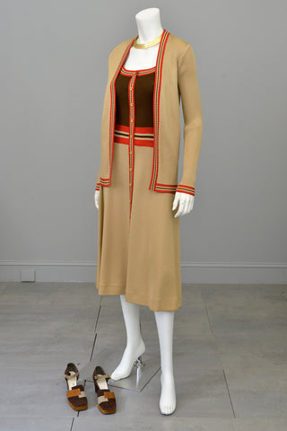 1970s Camel Brown Red Color Block Cardigan Sweater