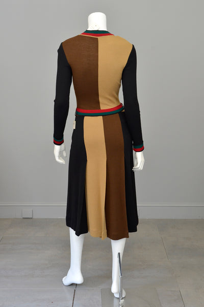 1970s Mod Colorblock Knit Dress Black Camel Brown