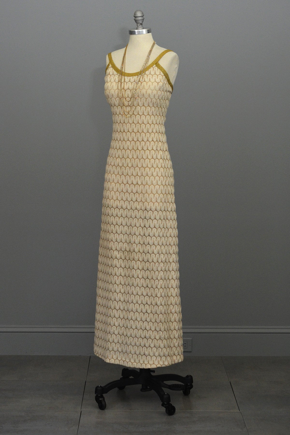 1970s Cream Gold Textured Knit Maxi Dress