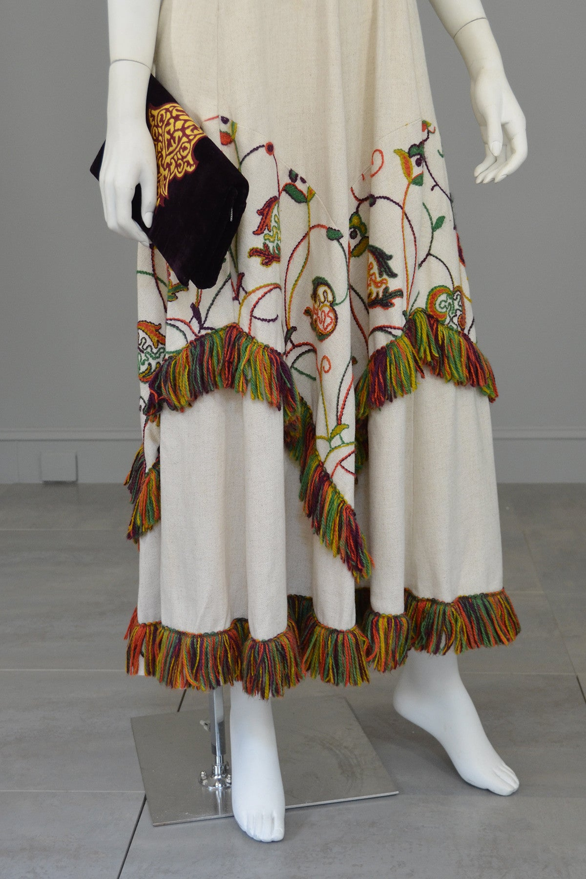1970s Vintage Yarn Embroidered & Fringe Maxi Dress Chevron Panels Hippie Chic