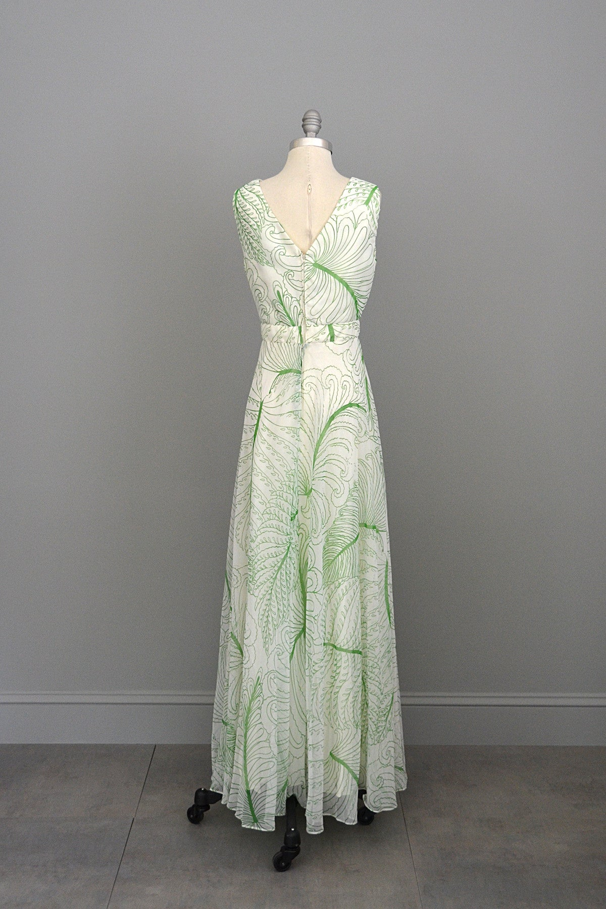 1970s Feather Print Chiffon Baby Doll Maxi Dress with Matching Shawl