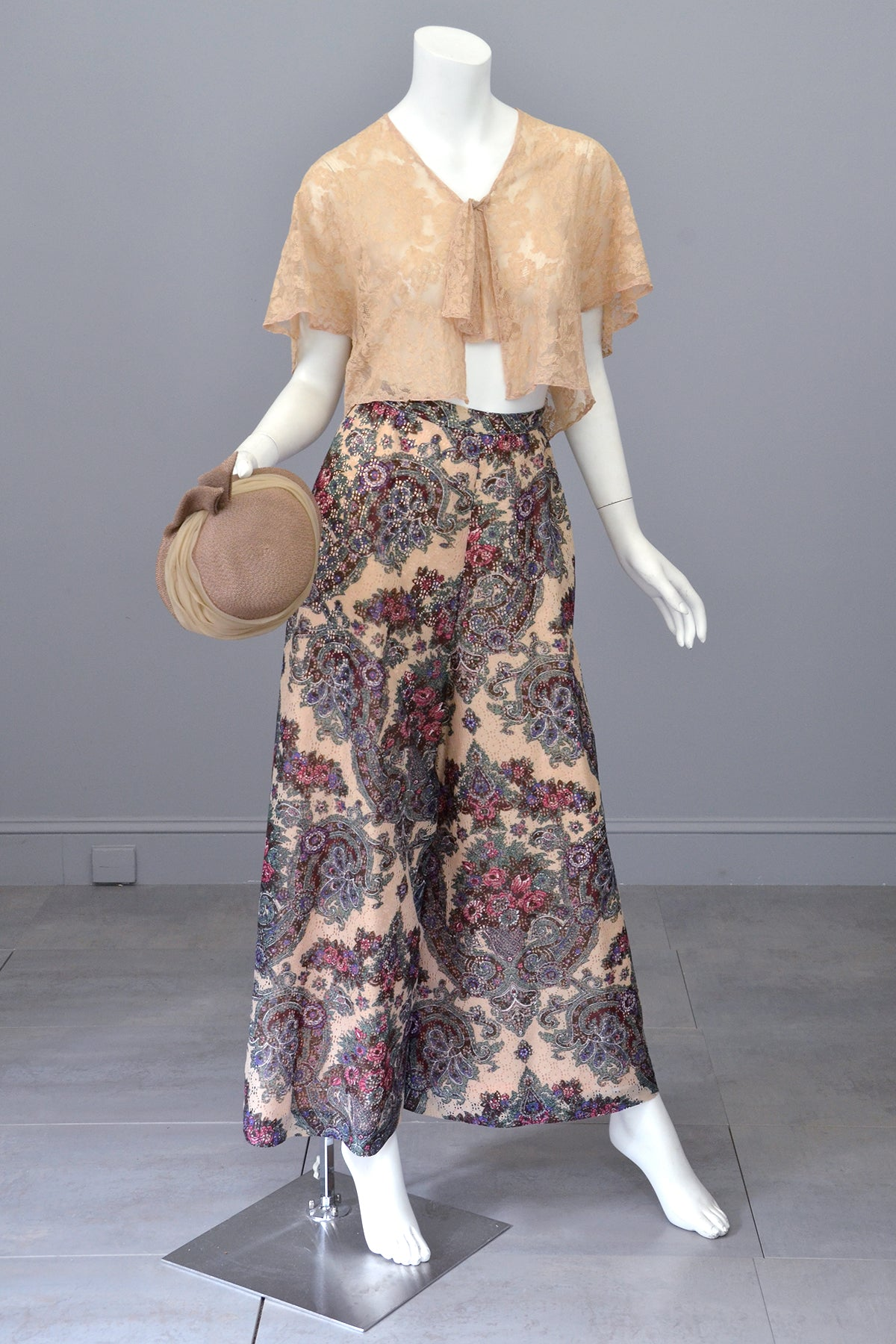 1970s Lacey Floral Print Palazzo Pants