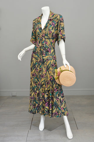 1970s Retro Floral Sketch Art Full Sweep Maxi Dress