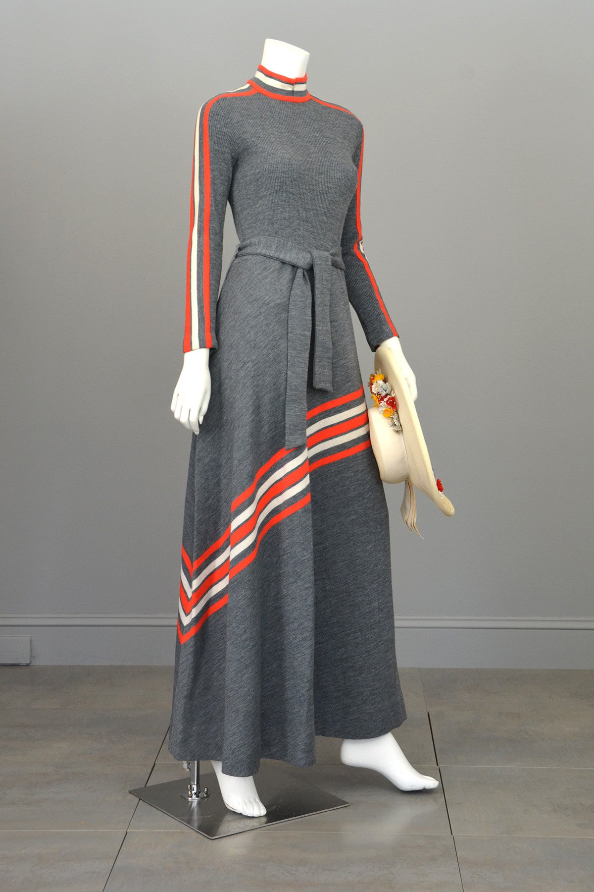 Groovy 1970s MOD Grey and Vermilion Red Striped Knit Maxi Dress by Arbe Made in Italy
