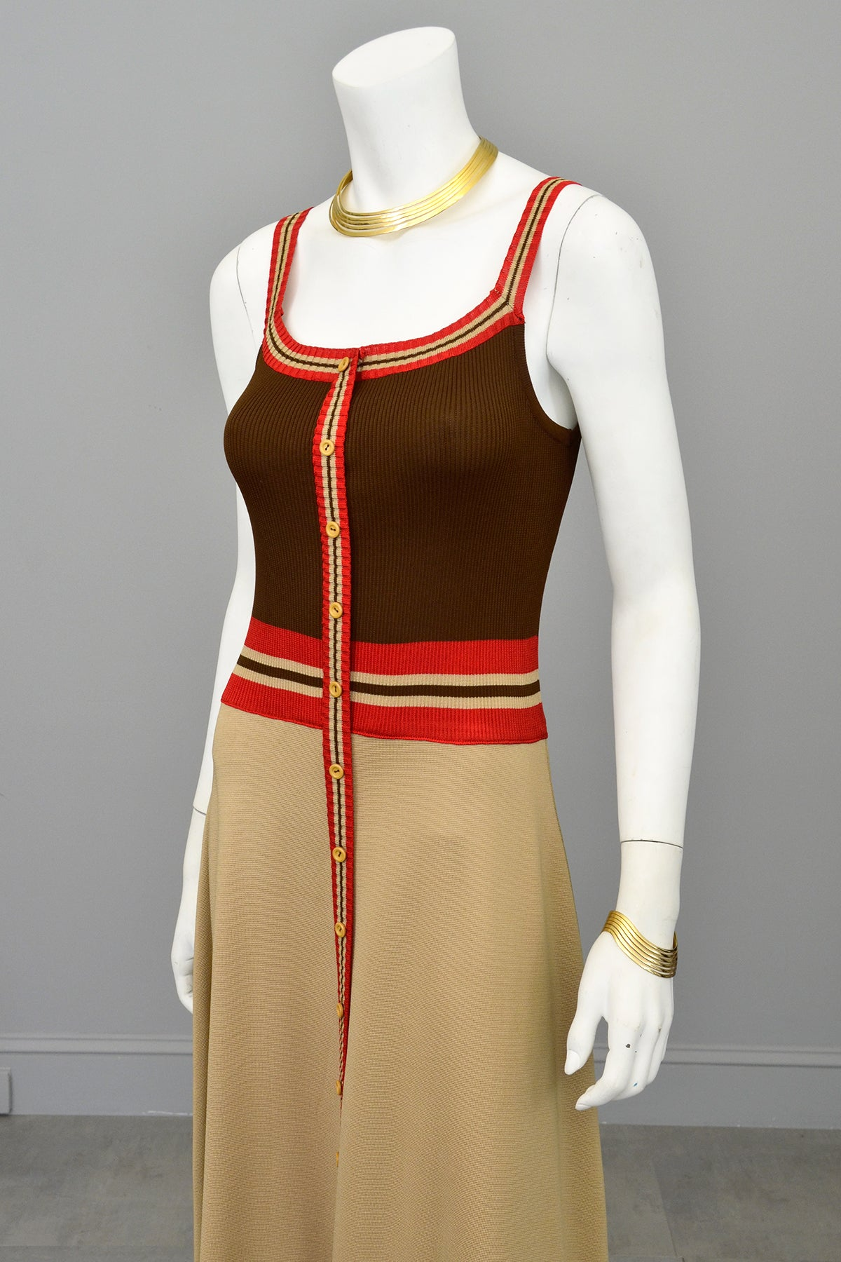 1970s Mod Retro Color Block Knit Dress by Crissa