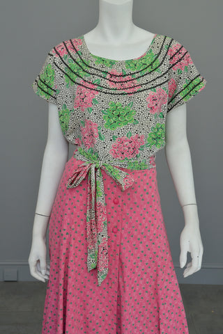 1970s Preppy Pink and Green Heart Shaped Floral Print Button Down Maxi Skirt
