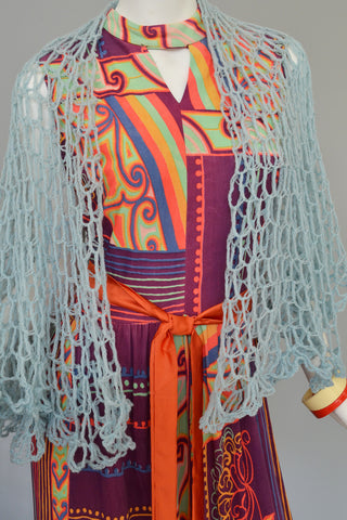 1970s Colorful Op Art Silky Knit Maxi Dress