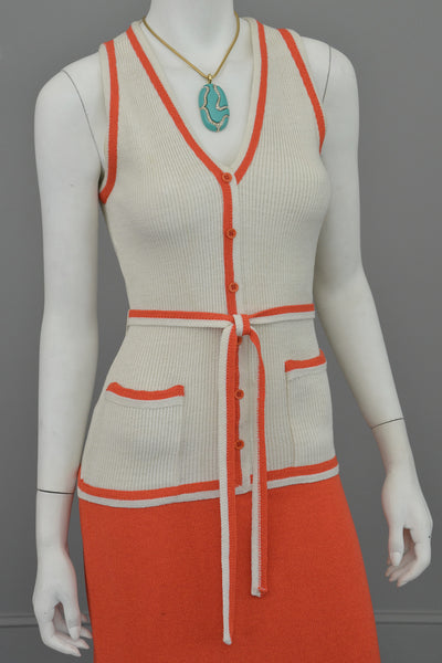 1970s Orange and Off-White Color Block ModKnit Maxi Dress