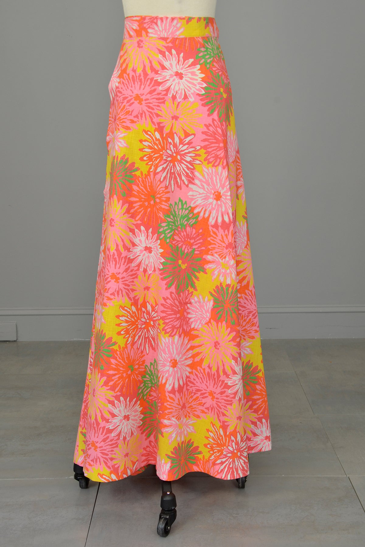 Flower Power 1970s Floral Print Wrap Maxi Skirt