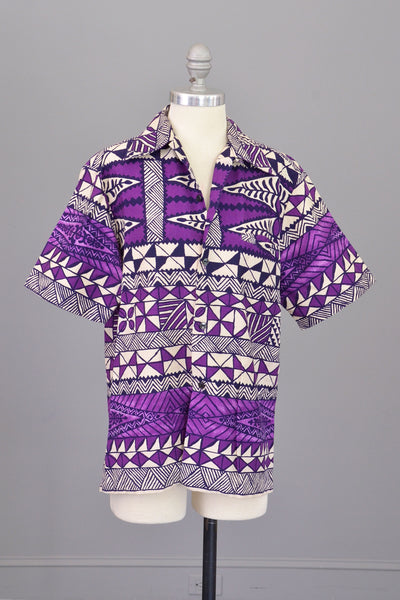 1960s Op Art Geometric Print Hawaiian Unisex Shirt