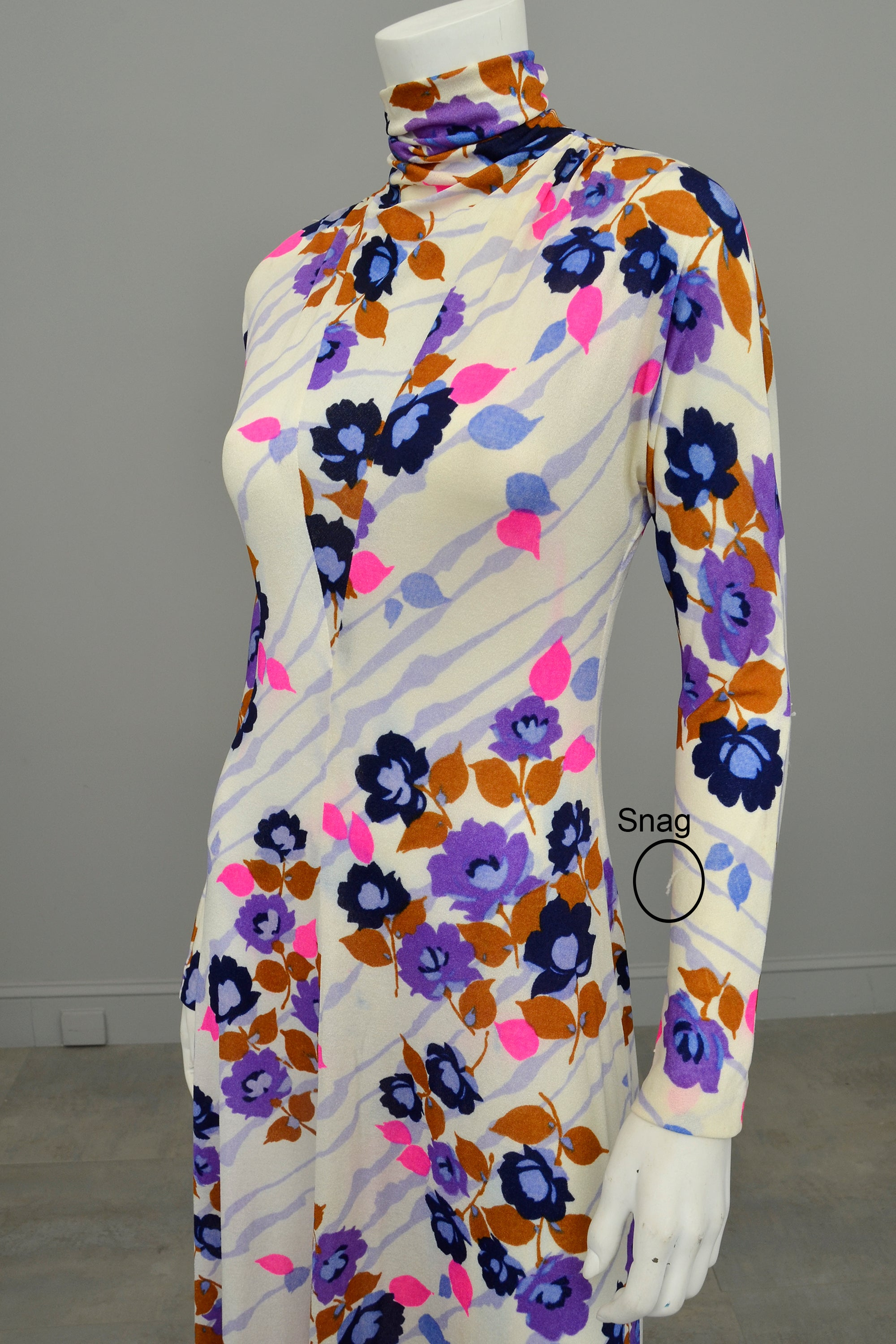 1970s Flower Power Maxi Jersey Dress