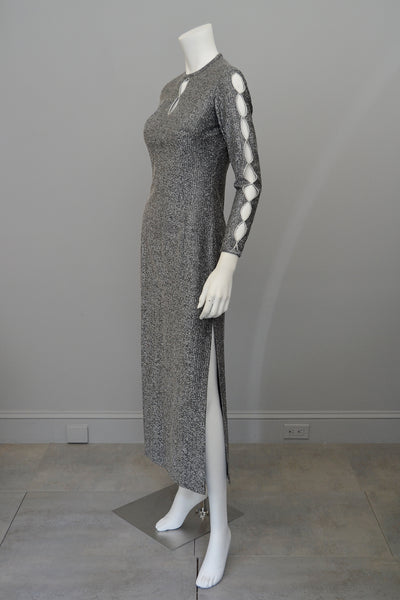 1970s Metallic Sliver Keyhole Sleeves Cheongsam Style Dress
