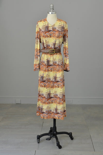 1970s Pastoral Windmills Novelty Print Velveteen Dress