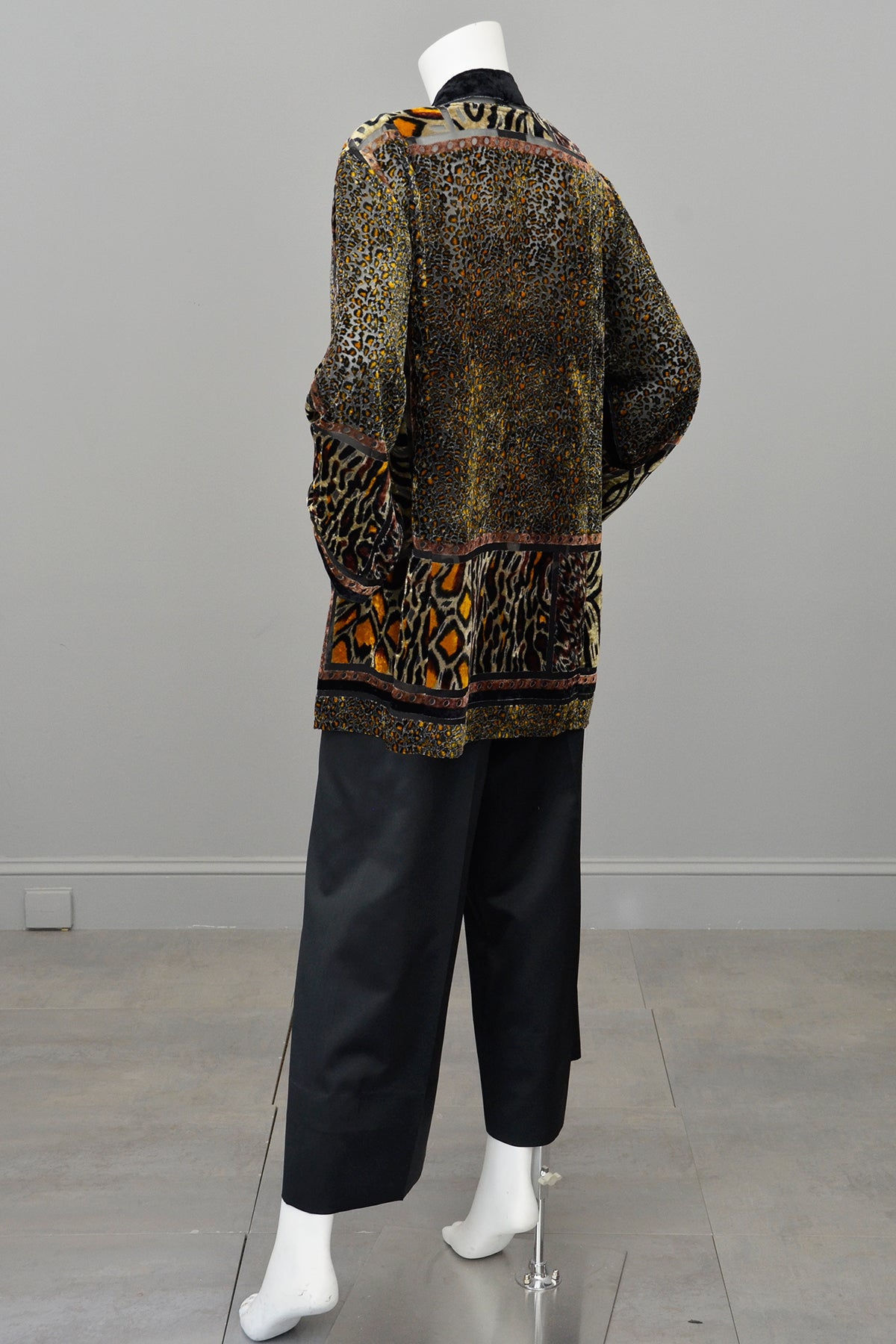 1990s Carole Little Animal Print Burnout Velvet Duster Jacket
