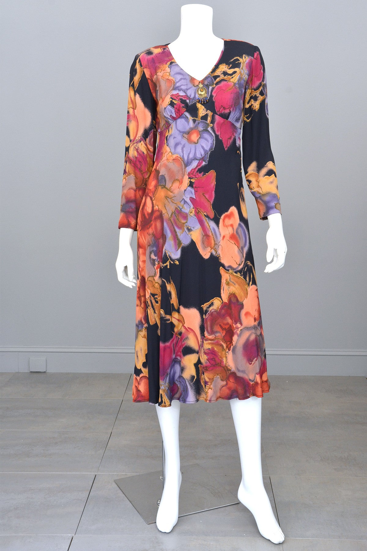 Vintage Carole Little 1990's does 70's Watercolor Floral Print Hippie Gypsy Midi Babydoll Dress