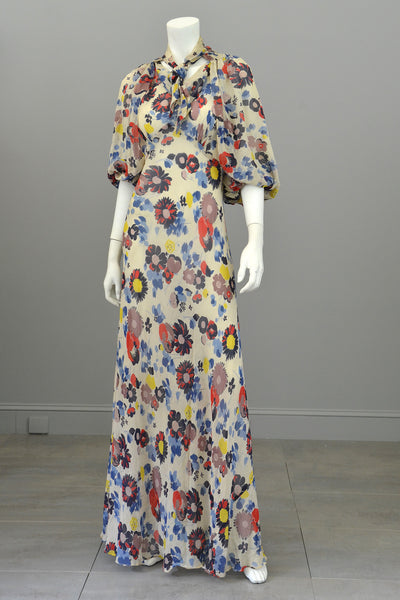 1930s Floral Print Silk Chiffon Vintage Gown And Butterfly