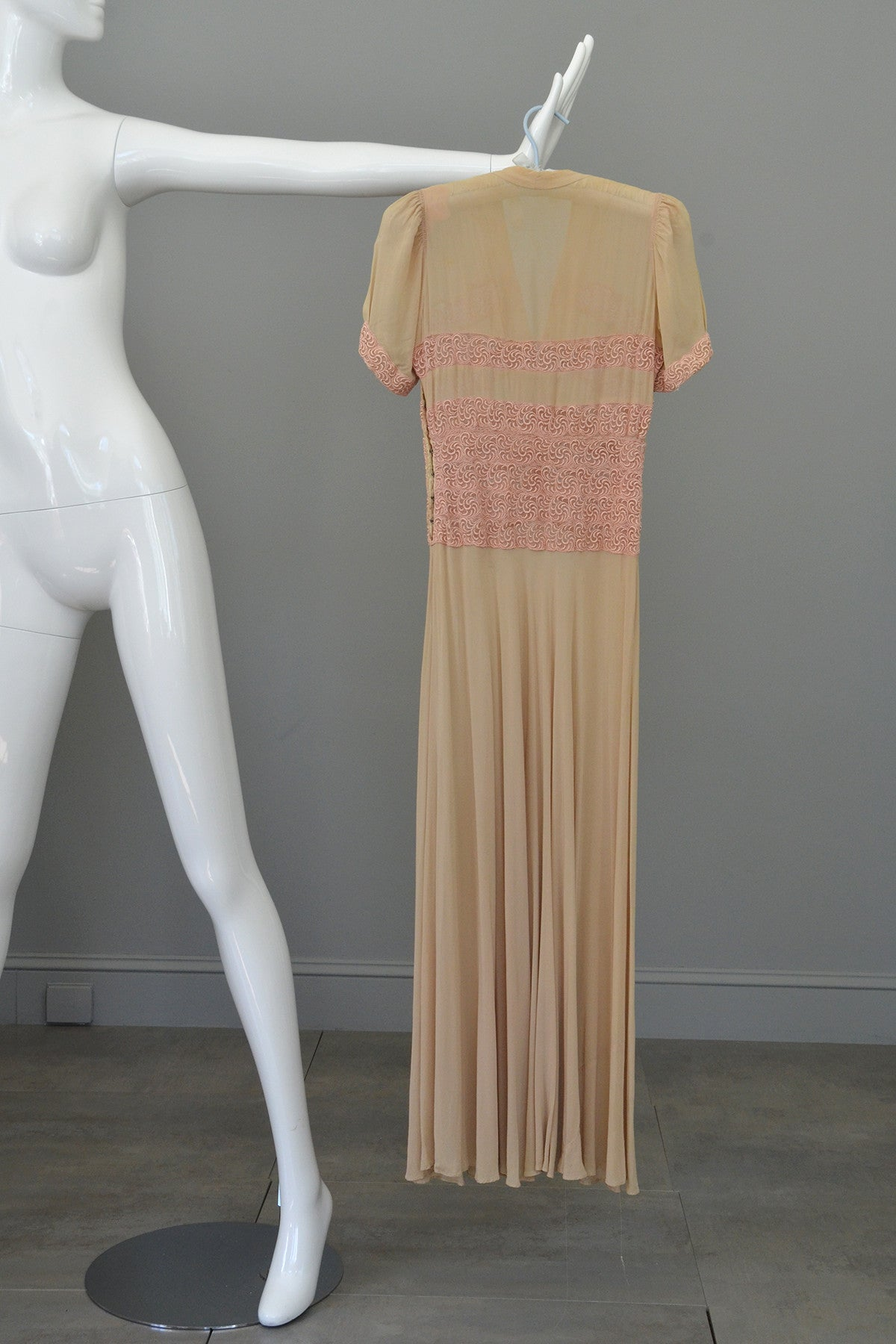 1930s Pink Embroidered Lace Ecru Rayon Crepe Deco Gown