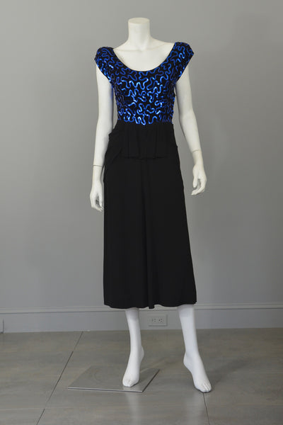 1940's Black Crepe Dress Blue Swirling Sequins & Peplum, Cocktail Dress