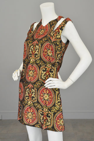 1960s Gold Metallic Open Shoulders Keyhole Tapestry Mini Dress