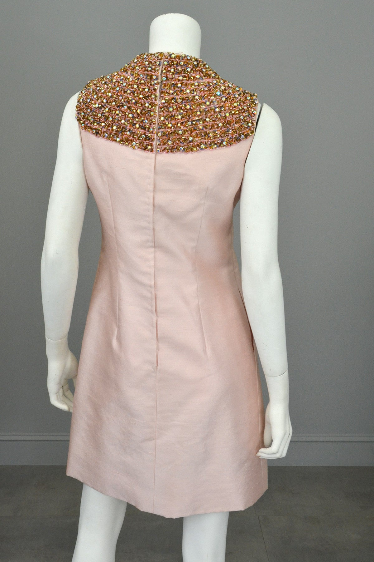 1960s Pink Silk blend Beaded Egyptian Revival Mini Dress