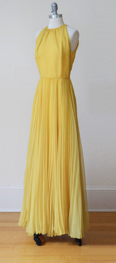 1960s MOD Pleated Marigold Chiffon Maxi Dress and Cape by Miss Bergdorf