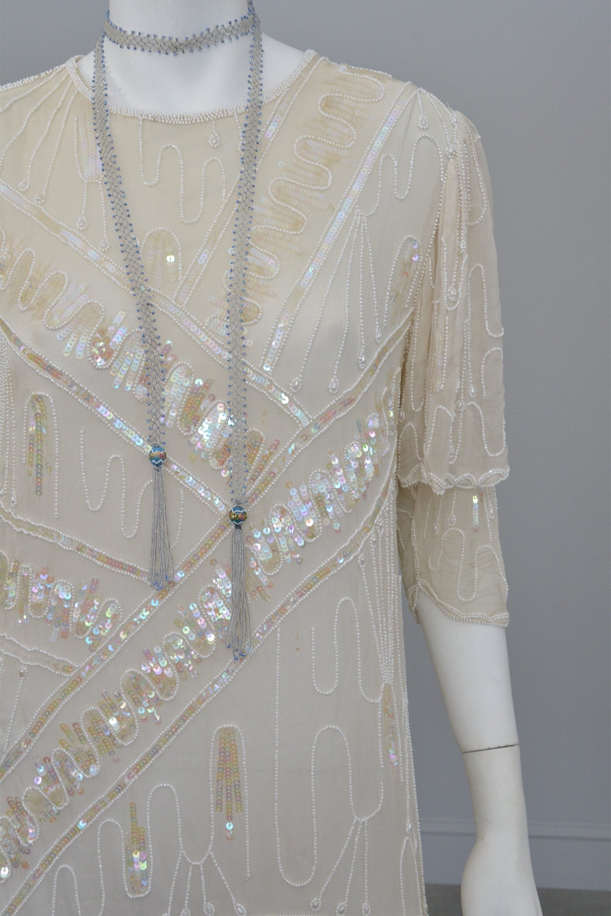70s 20s Antique White Sequins Pearls Titanic Flapper Dress by Lillie Rubin