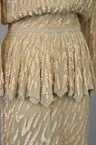 70s does 40s Beaded Pearls Silk Peplum Two Piece Vintage Dress