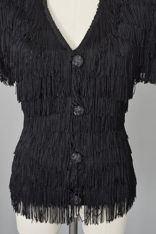 1970s 80s Black Fringe Sculpted Fierce Top