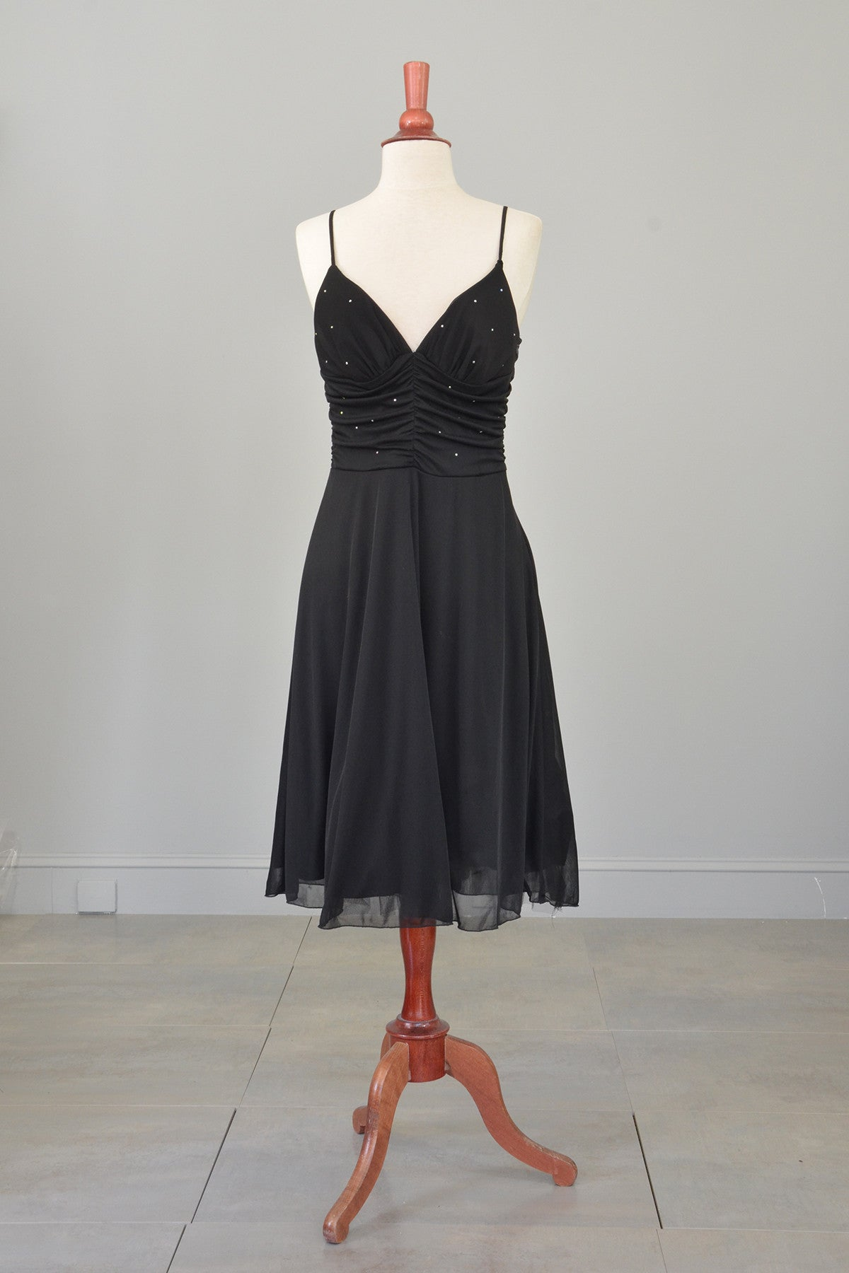 70s 80s Black Rhinestone Bodice Cocktail Party Dress