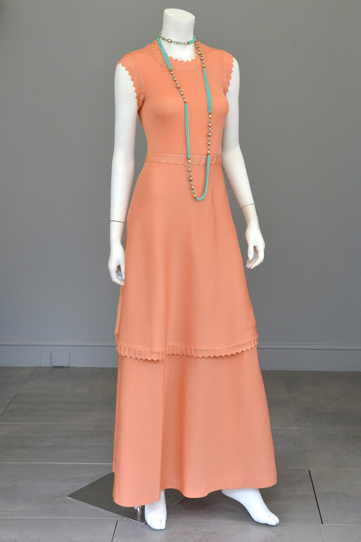 1970s Light Coral Italian Knit Dress with Long Peplum Skirt