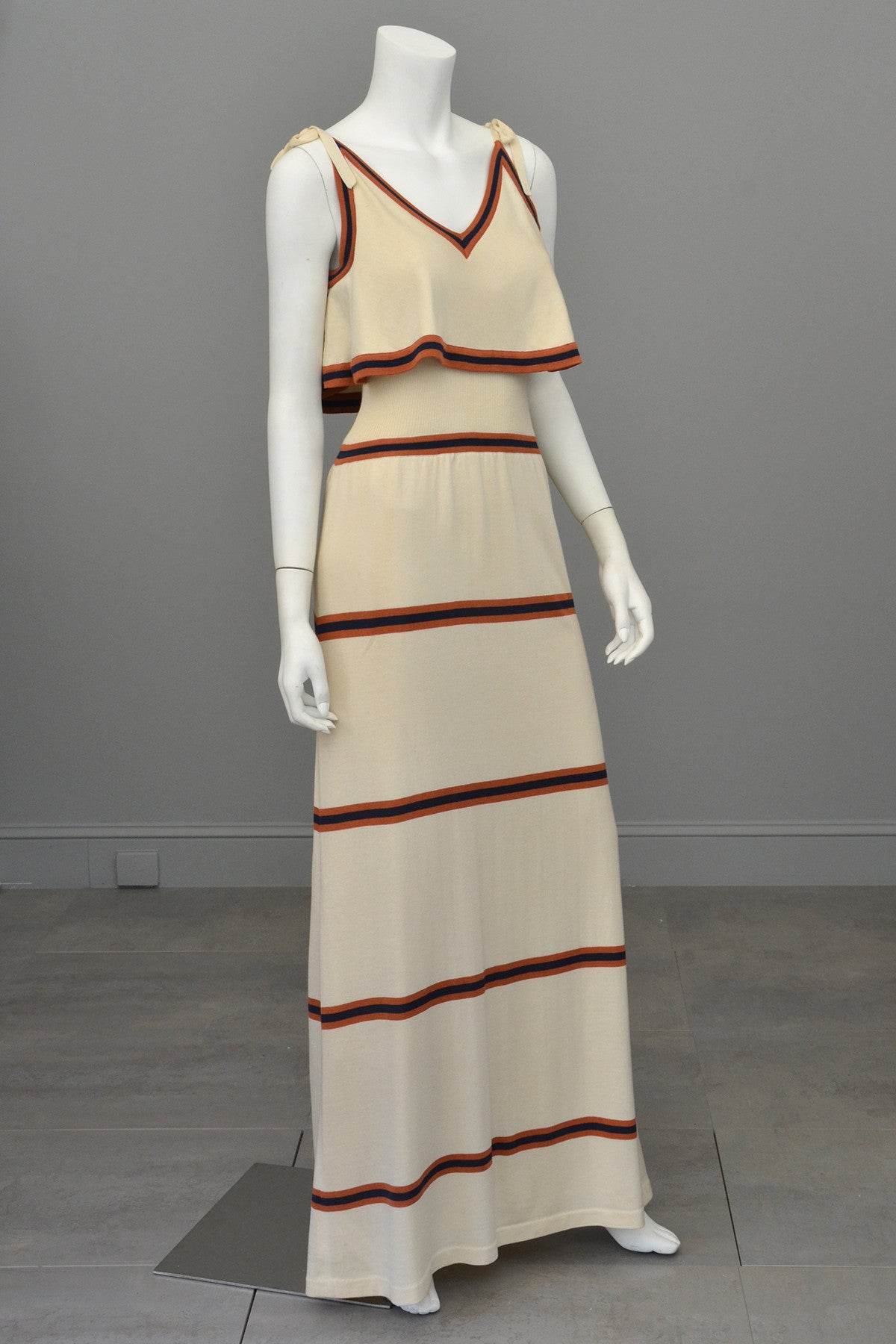1970s Knit Maxi Dress with Flounce Top, Navy and Nutmeg Stripes, Italian knit by Crissa