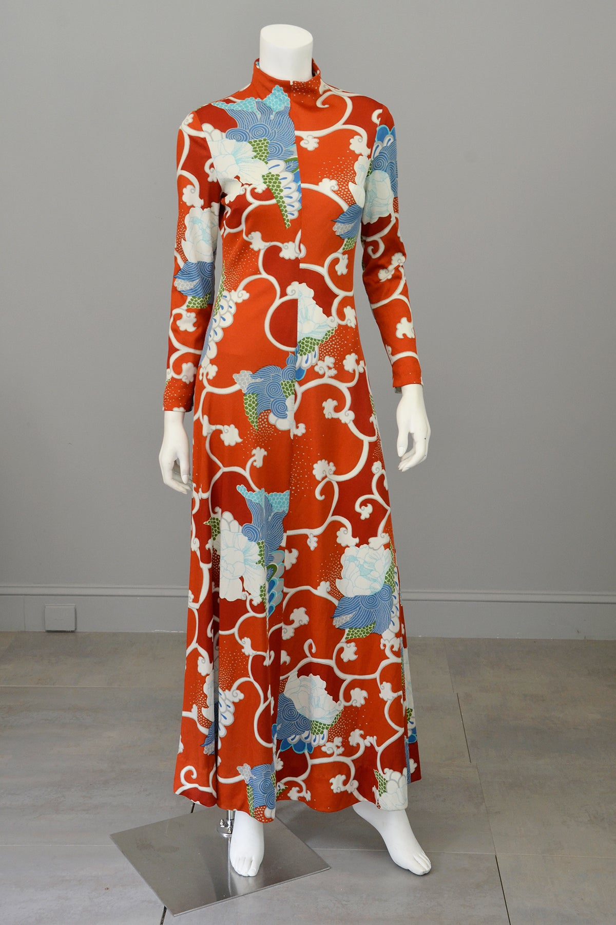1970s Burnt Orange Blue Retro Abstract Op Art Print Maxi Dress