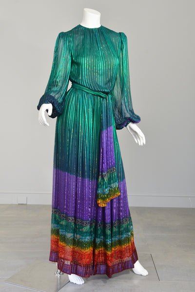 Reserved 1970s Sheer Peacock Rainbow Silk Maxi Dress With