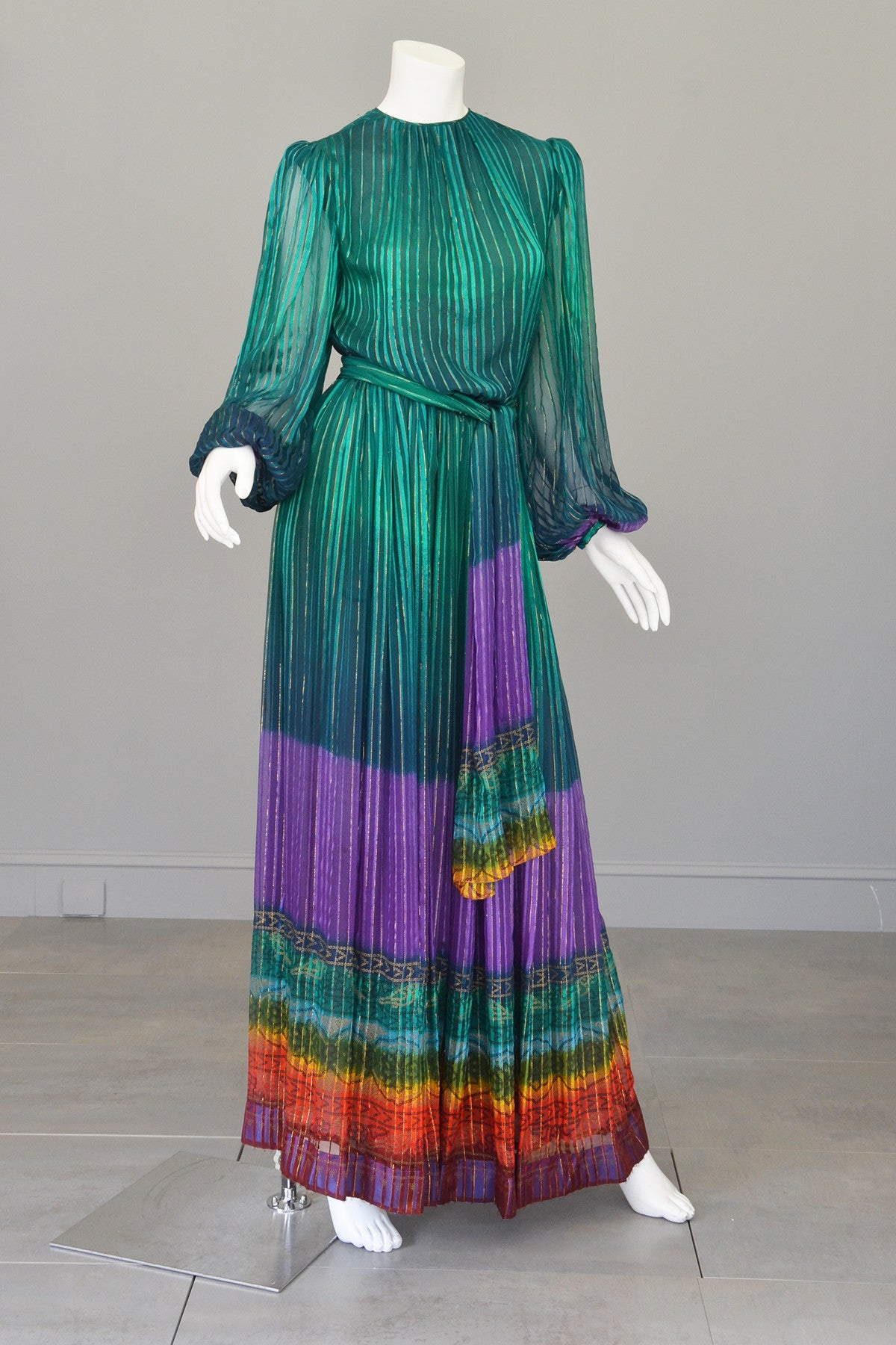 RESERVED 1970s Sheer Peacock Rainbow Silk Maxi Dress with Poet Sleeves Vintage Dress