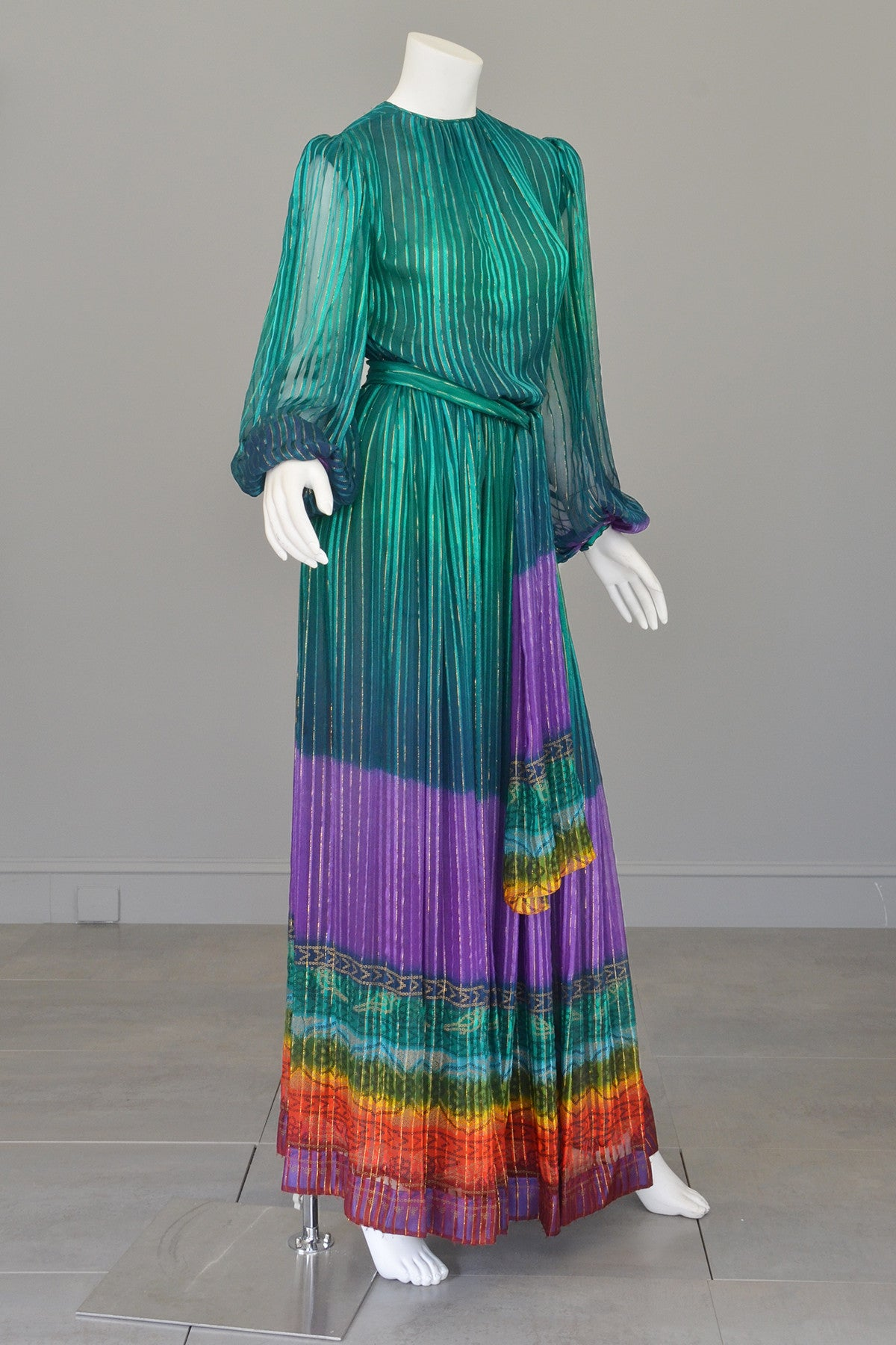 1970s Sheer Peacock Rainbow Silk Maxi Dress with Poet Sleeves Vintage Dress