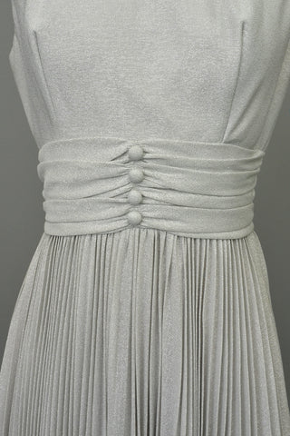 70s Silver Metallic Lurex Pleated Mini Party Dress