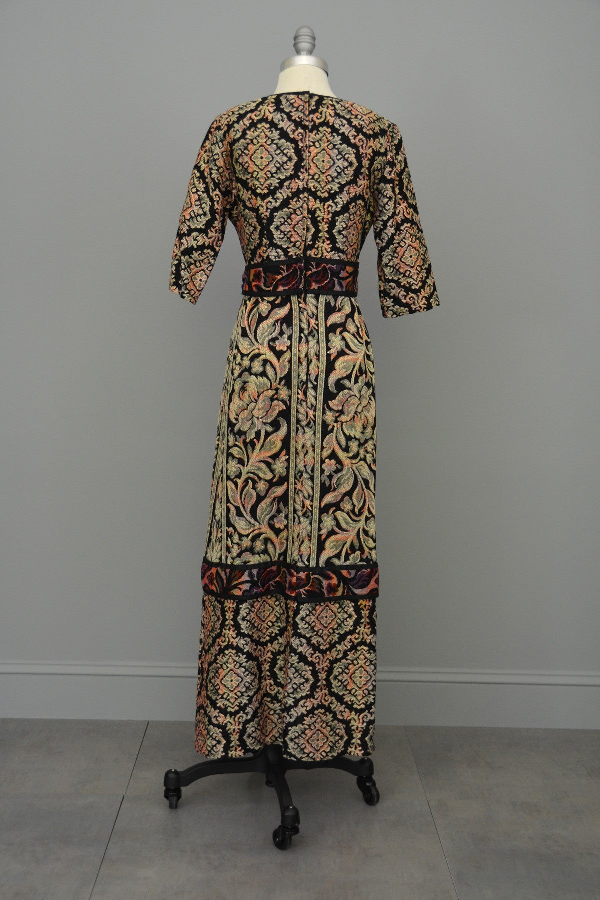 1970s Floral Tapestry Boho Festival Maxi Dress