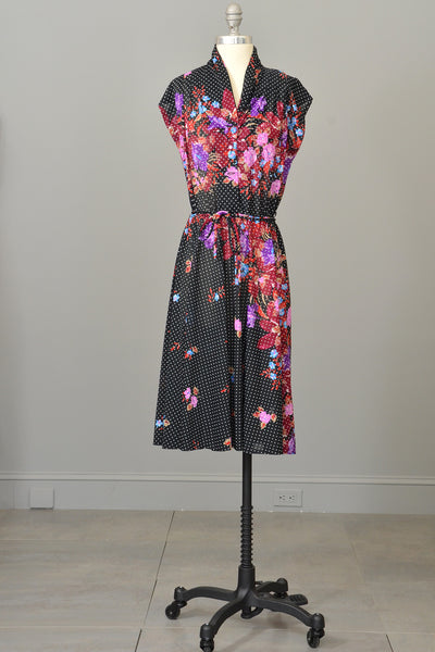 70s Vintage Novelty Floral Print Sheer Jersey Dress