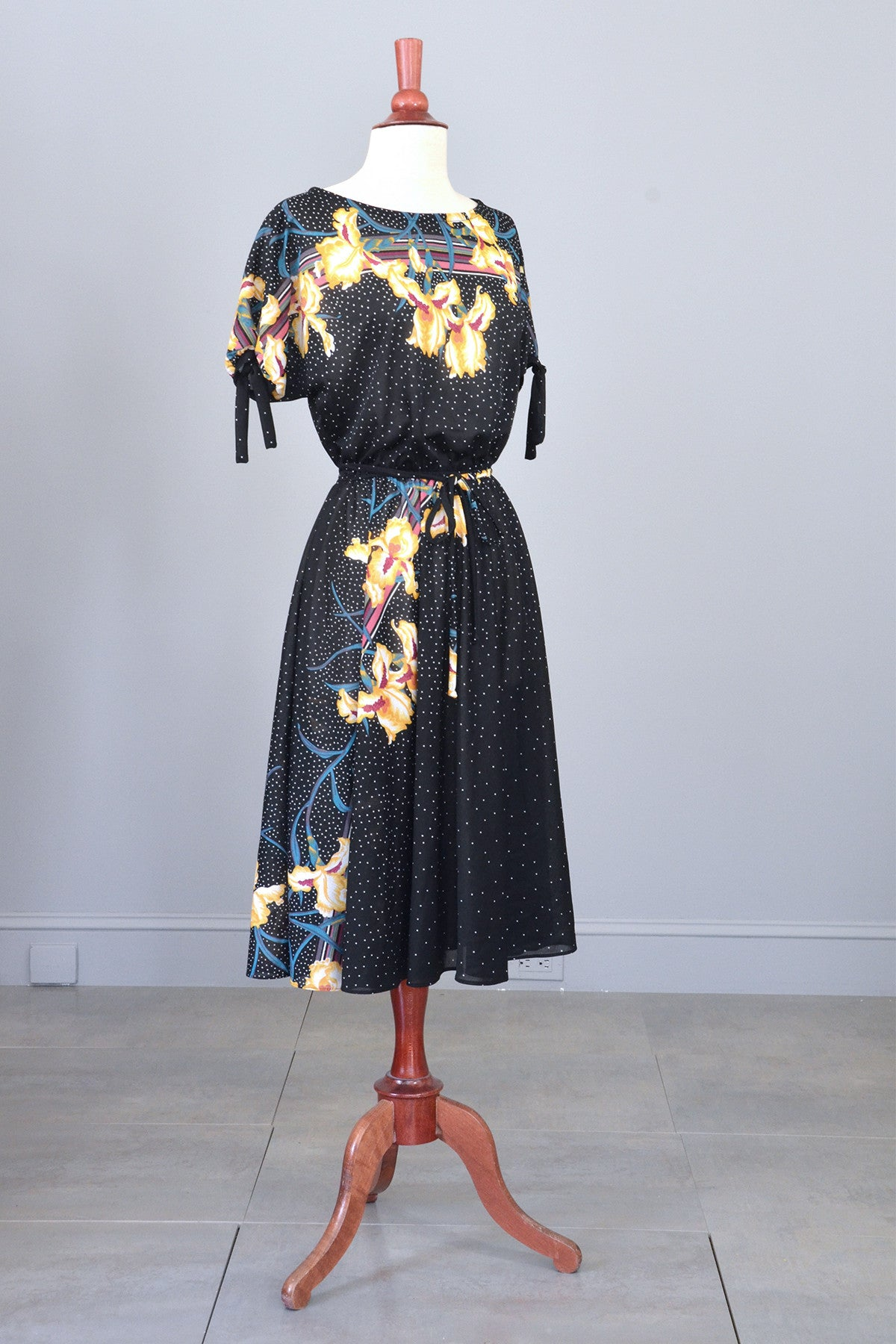 70s Vintage Sheer Jersey Orchid Print Dress