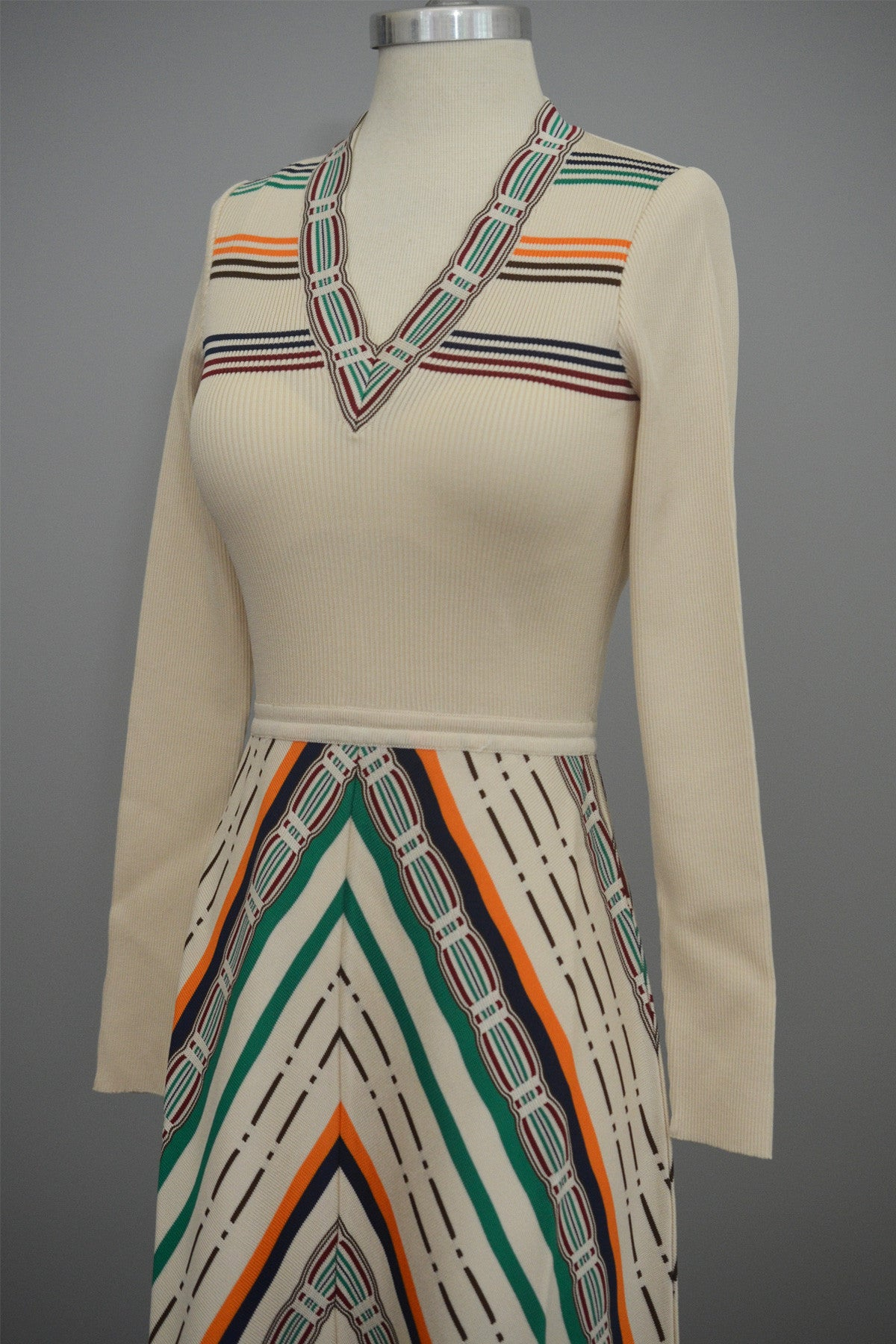 MOD Vintage 1970s Cream Chevron Stripes A-Line Maxi Knit Dress by Crissa Made in Italy