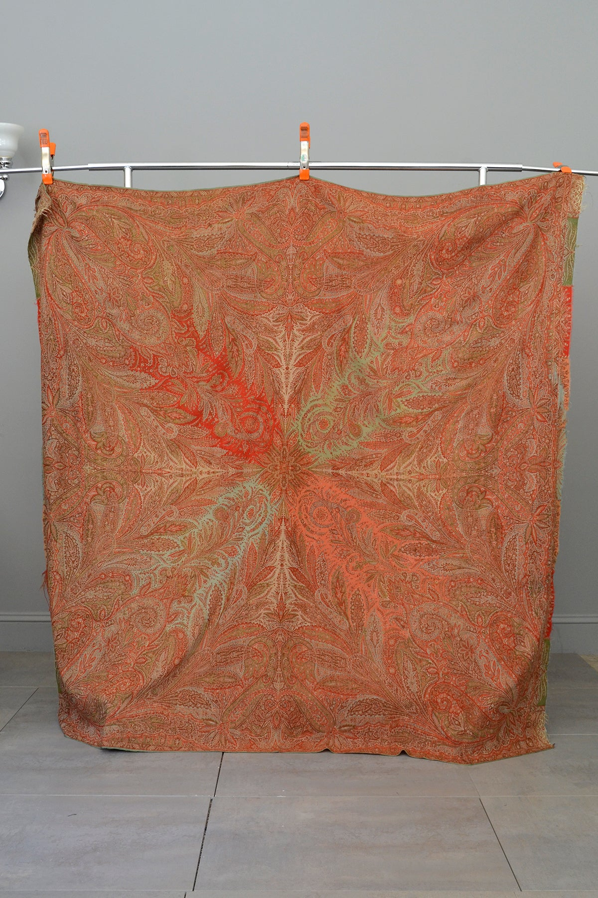Antique Victorian Woven Paisley Shawl