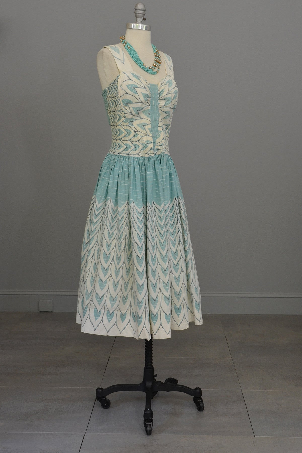 1950s Cole of CA Aqua and White Novelty Print Cotton Sundress